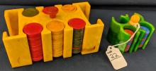 2 Small Catalin Poker Chip Holders w/ Chips