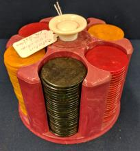 Round Bakelite? Carrier w/ Catalin Chips