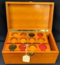 Wood Box Full of Catalin Poker Chips
