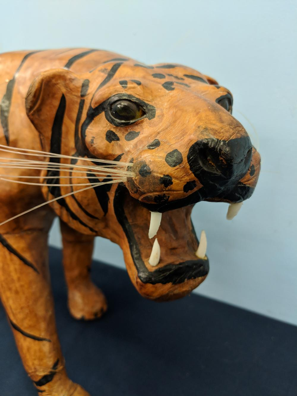 Leather Wrapped Tiger Statue