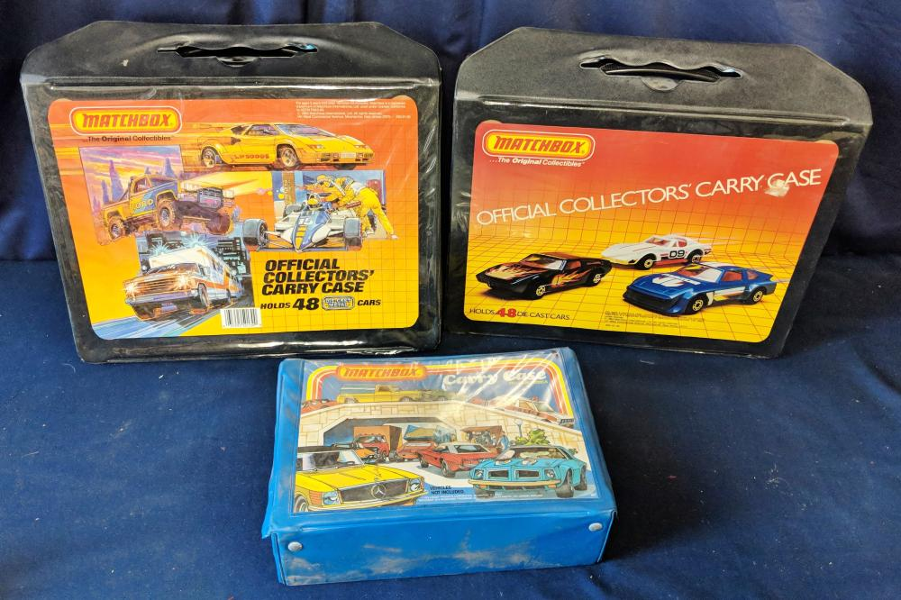 2 Empty Matchbox Cases & 1 Small Case w/ Cars