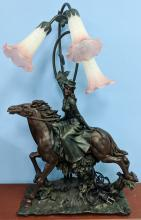 Lot 23: Large Resin Horse w/ Rider Lamp