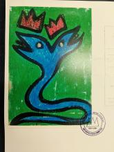 "Lot 35: Jean-Michel Basquiat ""Snake"" Post Card Artwork*"