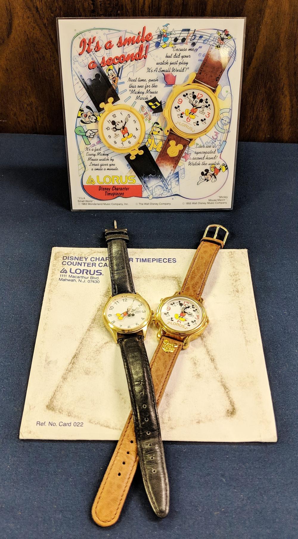 2 Lorus Disney Watches w/ Display