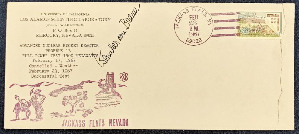 1967 Jackass Flats FDC Signed Wernher Von Braun