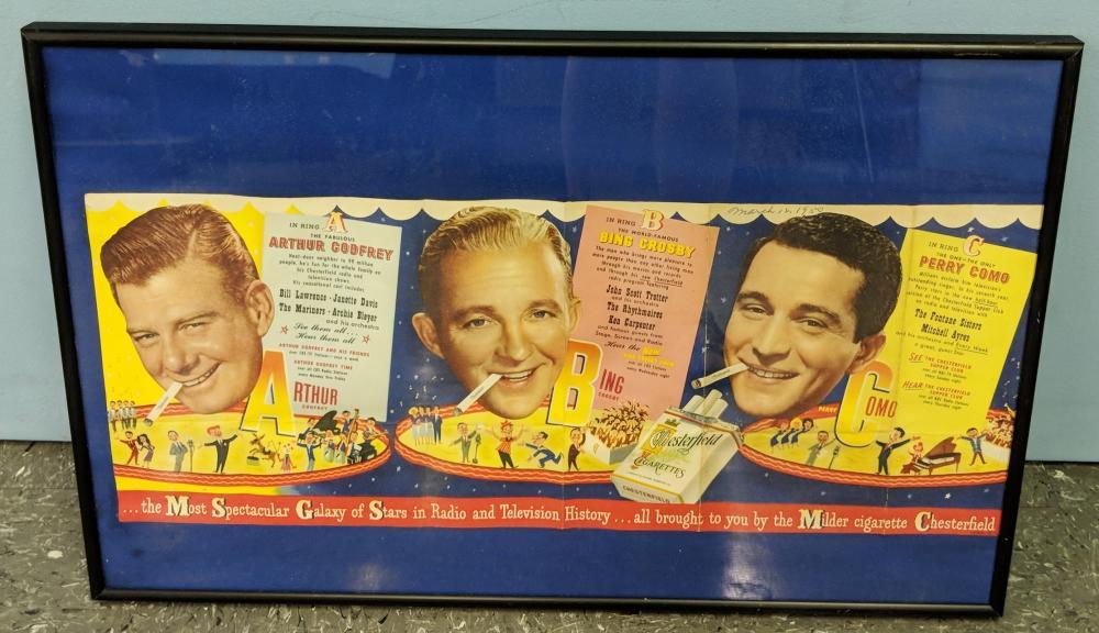Lot 49: Chesterfield Advertisement w/ Crosby, Godfrey & Como