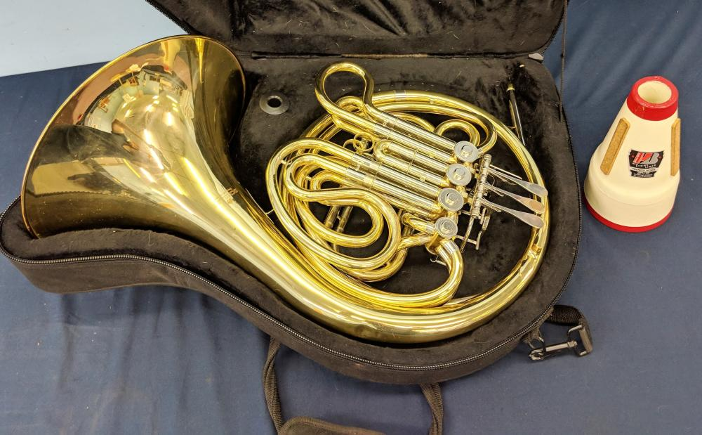 Lot 52: Schiller Double French Horn w/ Case & Mute