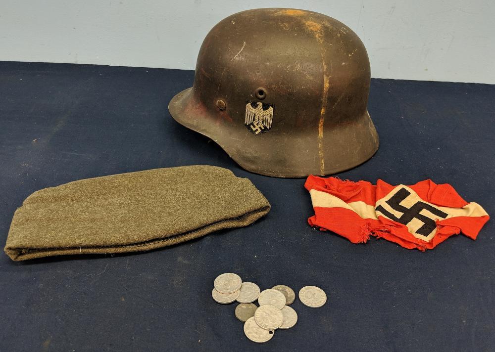 German Helmet, Coins, Hat & Arm Band