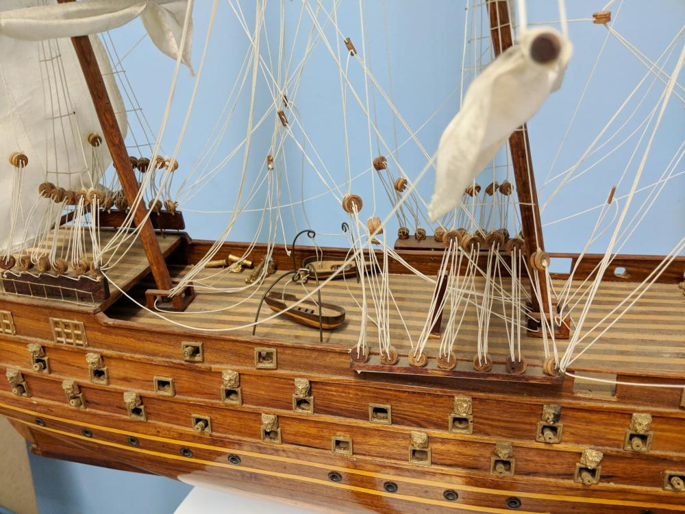 Lot 95: Large Model Ship on Stand