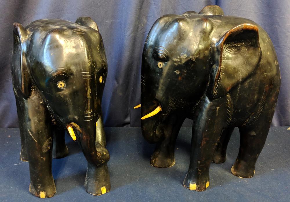 Pair of Ebony Elephants