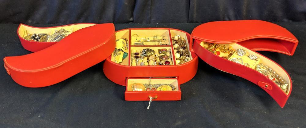 Red Jewelry Case w/ Jewelry