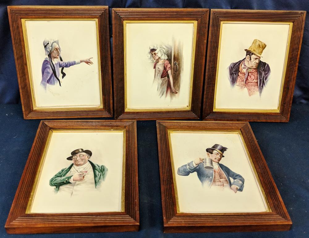 5 Charles Dickens Painted Tiles