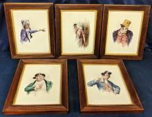 Lot 48A: 5 Charles Dickens Painted Tiles