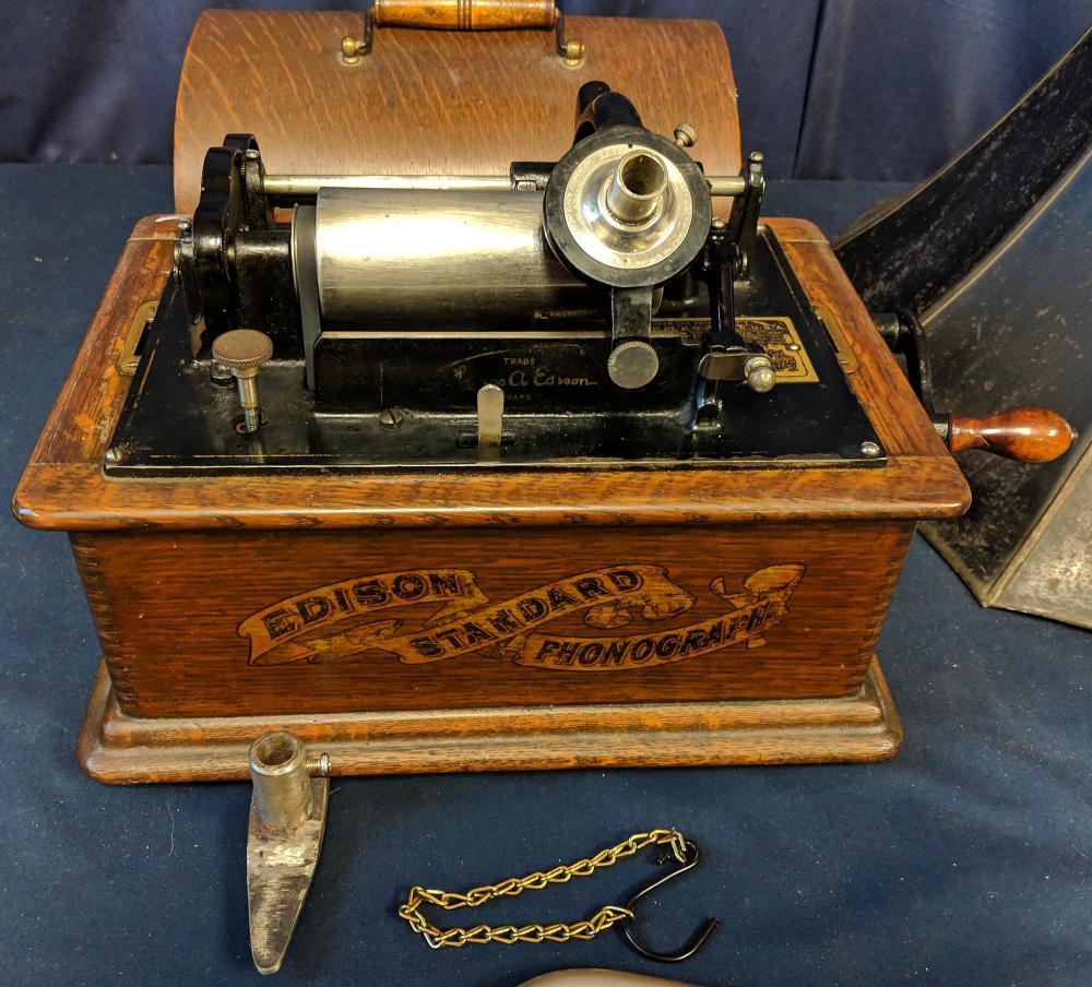 Lot 35A: Edison Standard Phonograph w/ Horn & Cylinders