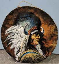 Lot 113: Hand Painted Native American Drum