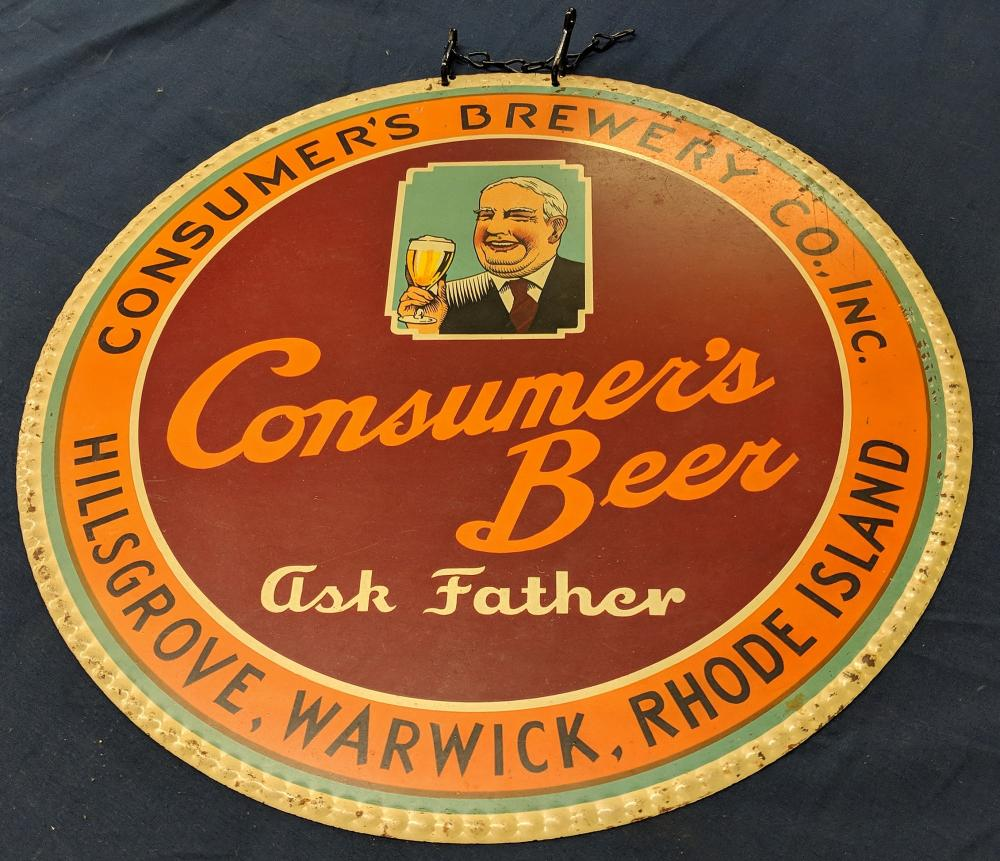 Lot 115A: Ask Father Beer Tin Sign