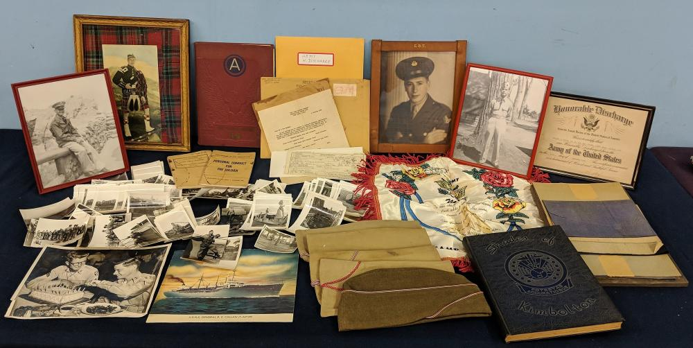 Lot of Military Photos, Hats and Ephemera