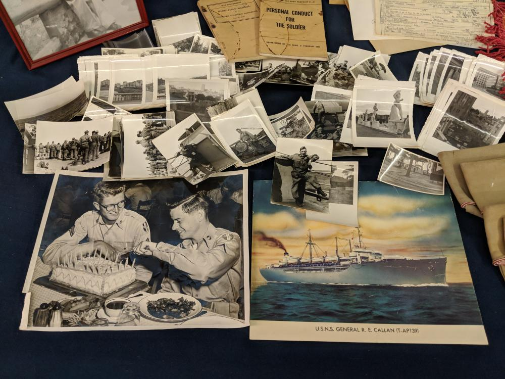 Lot 130: Lot of Military Photos, Hats and Ephemera