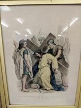 Lot 129: Antique Christian Print in Gold Frame