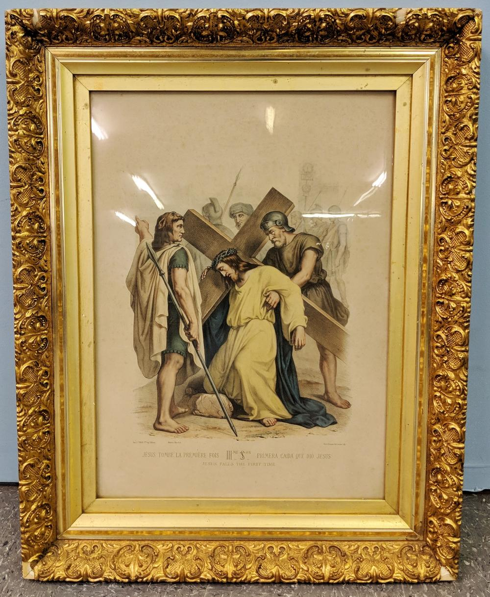 Antique Christian Print in Gold Frame