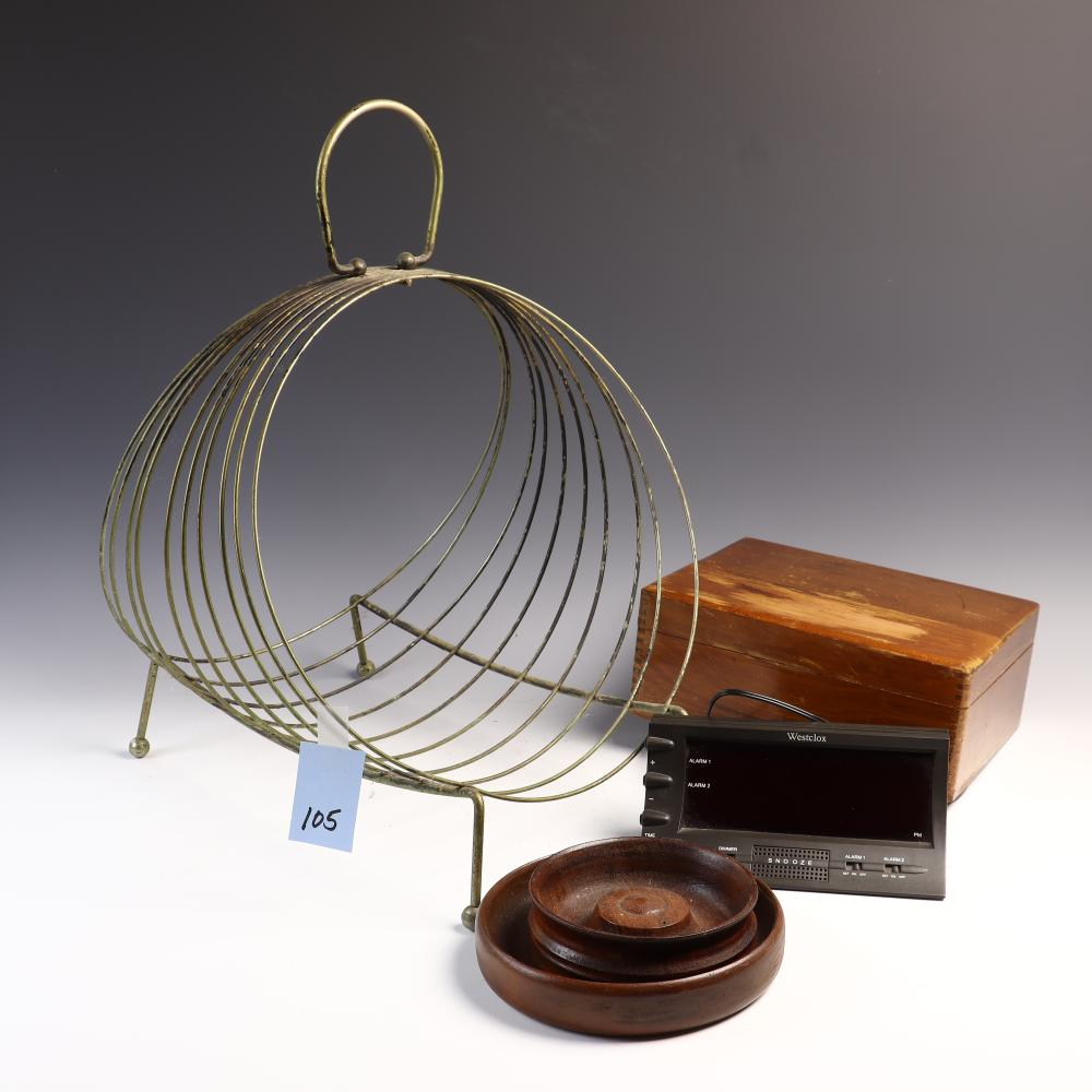 Westclox alarm clock, wooden box, 2 wooden change bowls, and magazine rack