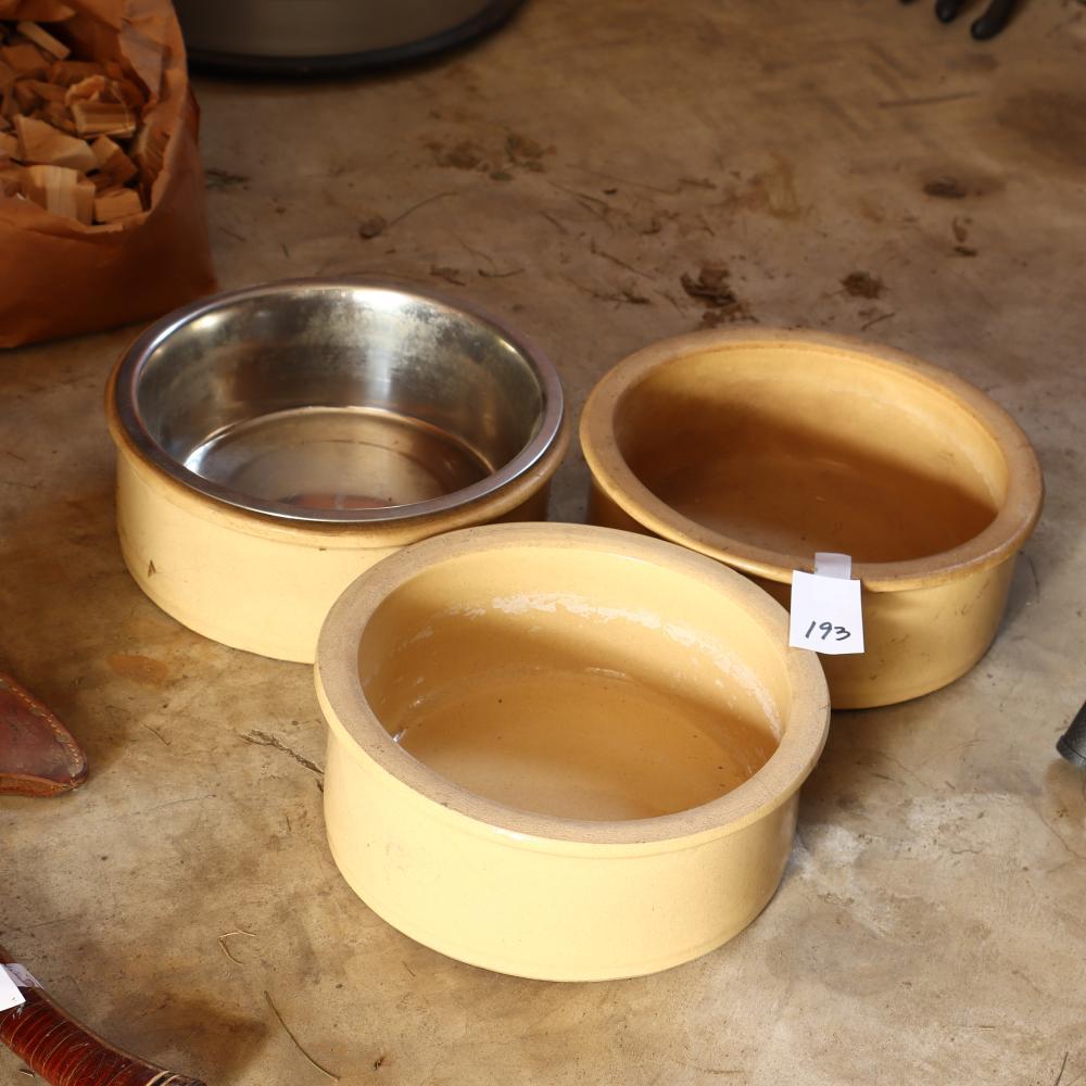 Three Roseville stoneware dog bowls/crocks