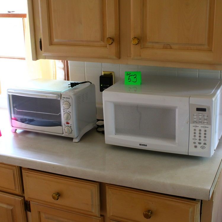 Lot 53: Kenmore Microwave, Euro Pro X toaster oven