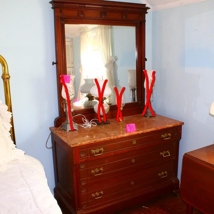 Victorian marble top dresser & mirror