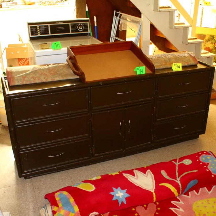 wooden tray, buffet/dresser