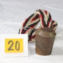 TIBET NEPAL OLD METAL YAK BELL WOVEN WOOL CORD HORN CLANGER