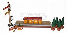 O-gauge wooden Station with Accessories