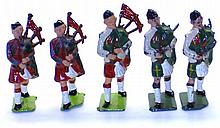 Five diecast Scotsmen with Bagpipes