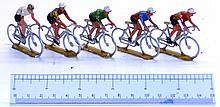 Five cast aluminium Cyclists