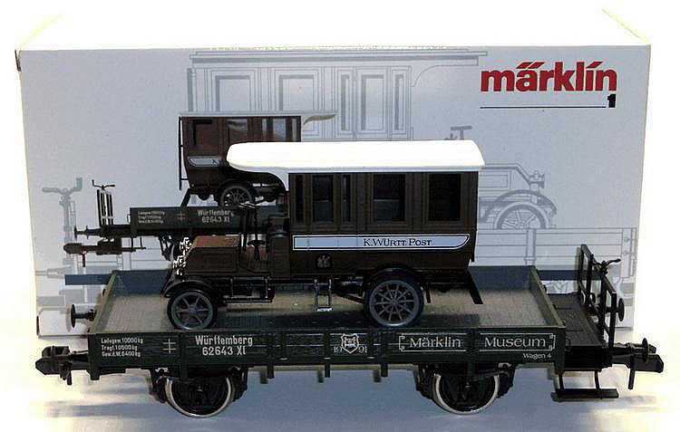 Marklin 1-gauge 1991 4-wheel Flat Car with Motor Van