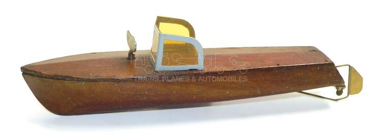 Wooden Speed Boat with Japanese clockwork motor
