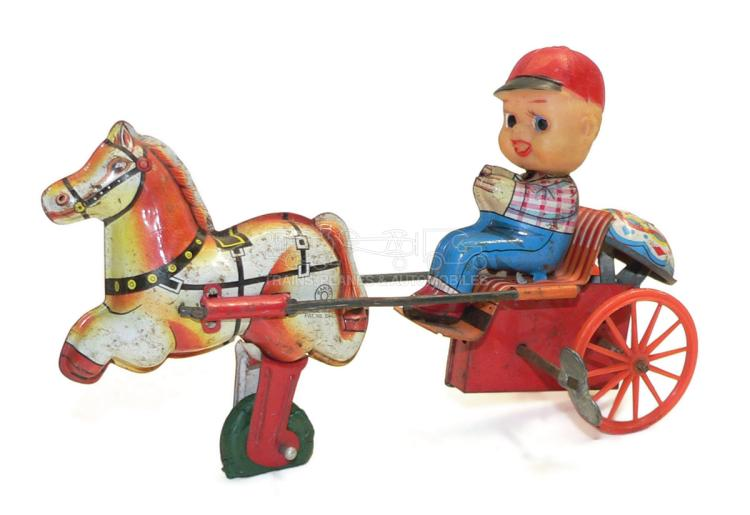 Kanto tinplate, plastic & rubber clockwork Horse and Cart