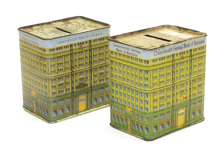 Two Commonwealth Bank tinplate Money Boxes