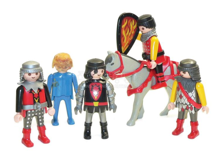 Five Geobro and Playmobil plastic Figures