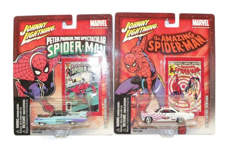Two Playing Mantis 313-80 Spiderman diecast Cars
