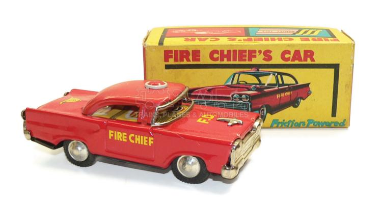 SSS tinplate friction-drive Fire Chief's Car
