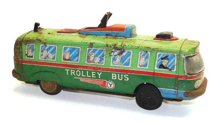 Japanese tinplate friction-drive Trolley Bus