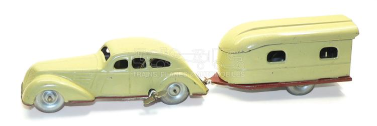 German tinplate clockwork Car with Caravan