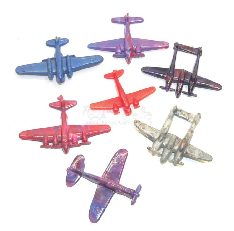 Seven small plastic Aircraft