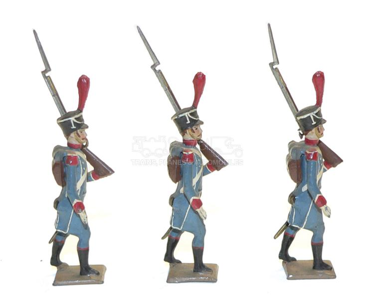 Three diecast 54mm French Infantry Soldier Figures