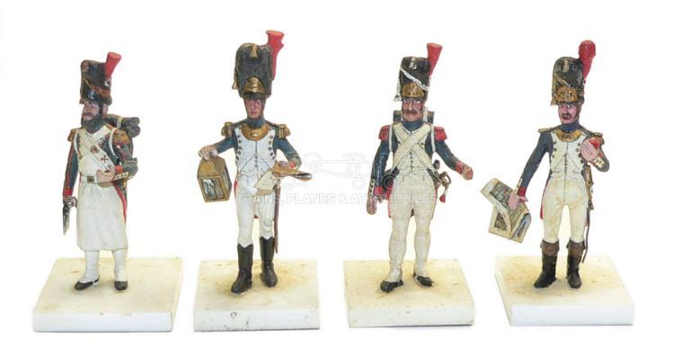 Four diecast 60mm Napoleonic Era Soldier Figures