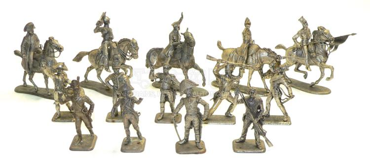 Collection of pewter approx. 65mm Napoleonic Era Soldier Figures