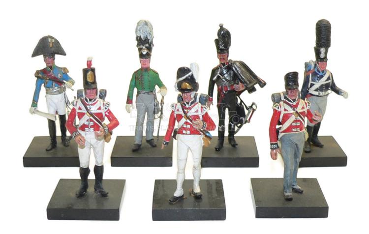 Seven diecast approx. 60mm Napoleonic Era Soldier Figures