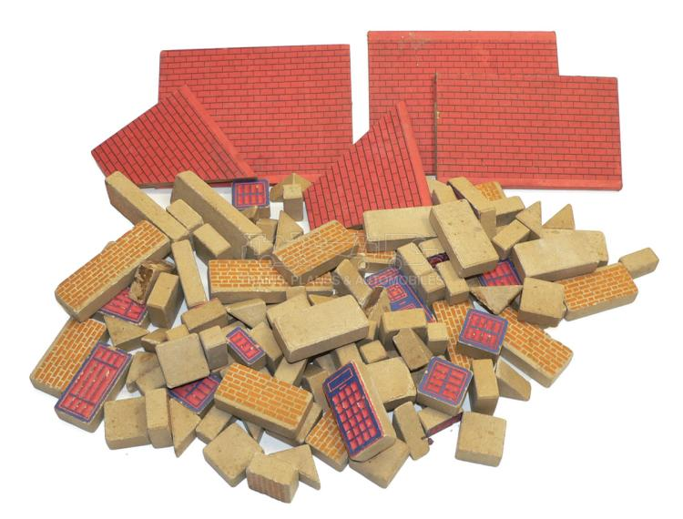 Quantity of stone and card Building Pieces