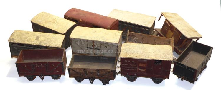 Eleven 2-gaugewooden 4-wheel Goods Wagons