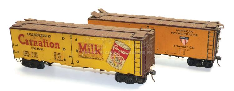 Two kit-built O-gauge bogie Box Cars